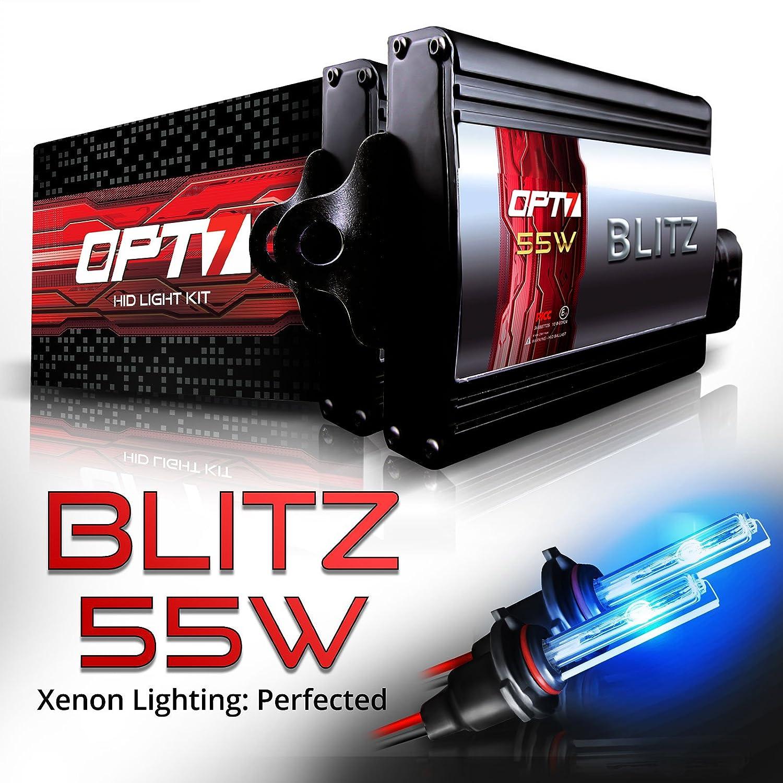 2 Yr Warranty OPT7 Blitz 55w 9005 High Beam HID Kit 5X Brighter 4X Longer Life All Bulb Colors and Sizes 6000K Lightning Blue Xenon Light