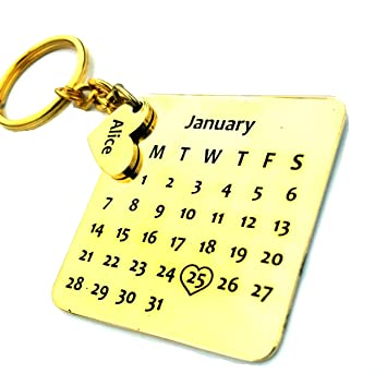 Smart Galleria Birthday Gift Personalized Calendar Key Chain with Name and  D.O.B on Metal 1f9fda455