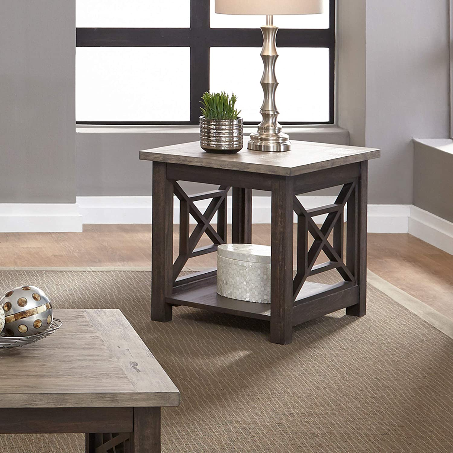 Liberty Furniture Industries Heatherbrook Occasional End Table, W23 x D27 x H24, Black