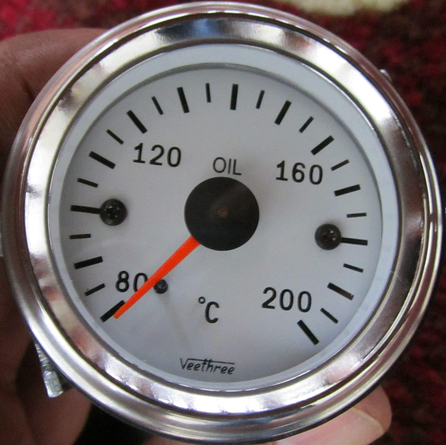 Veethree Oil Temperature Gauge Electrical with Sender Chrome//White