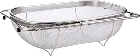 High Quality Over The Sink Strainer 6 Quart Stainless Steel Fine Mesh Sieve Kitchen  Colander Extendable Handles Pro