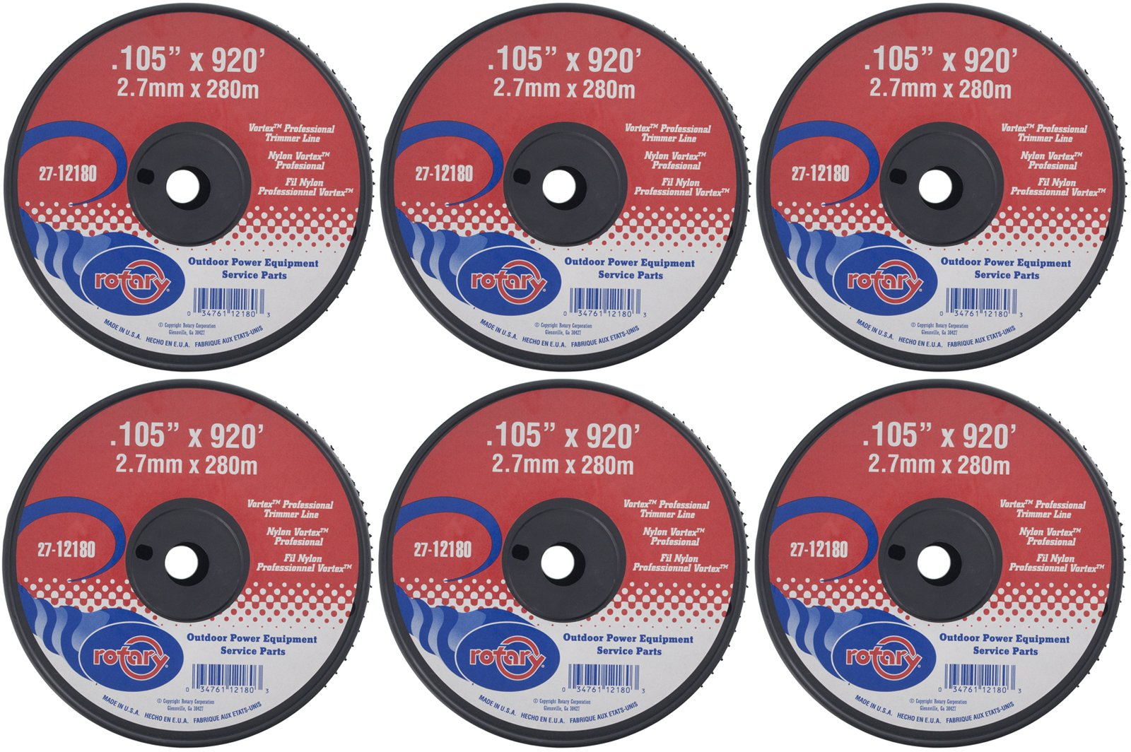 Rotary Six (6) Pack of Vortex Trimmer Line 12180 .105 x 920 5 LBS Spools