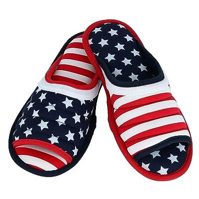 Dearfoams Men's Stars and Stripes American Flag Slide Slippers | Slippers