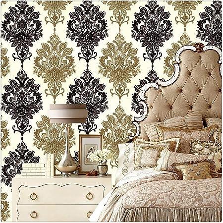 Haokhome 1366 Damask Peel Stick Wallpaper 17 7 X 19 7ft Black