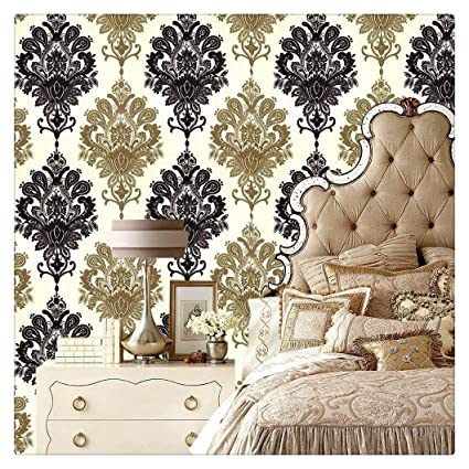 Haokhome 1366 Damask Peel Stick Wallpaper 17 7 X 19 7ft Black Cream Gold For Bathroom Kitchen Prepasted Contact Paper