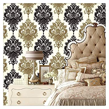 Haokhome 1366 Damask Peel Stick Wallpaper 17 7 X 19 7ft Black Cream Gold For Bathroom Kitchen Prepasted Contact Paper Amazon In Home Improvement