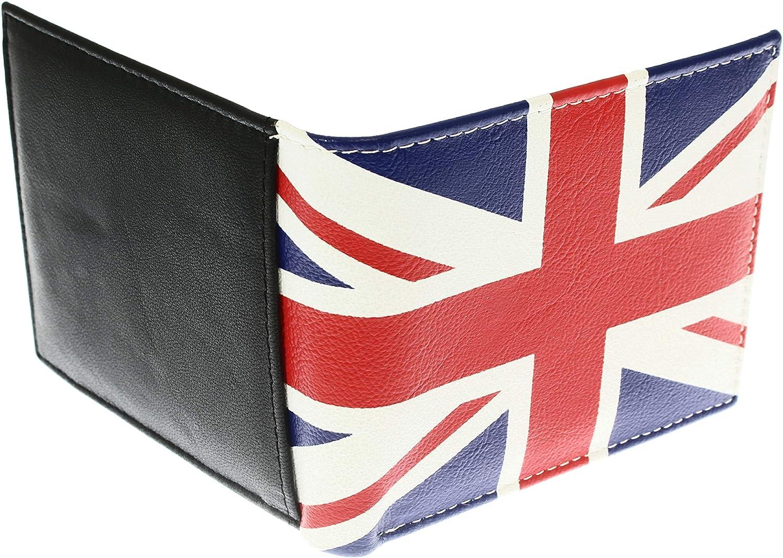 f/ür mindestens 6 Kreditkarten Die superweiche Geldb/örse aus echtem Leder von Union Jack f/ür Herren 1 Ausweis Banknoten M/ünzen