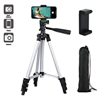 """Paladinz Phone Tripod 42 """" Inch ( 106 cm ) Lightweight Aluminum iPhone Tripod Stand for Camera iPhone Samsung Windows and Most Other Phones with Carrying Bag and Universal Smartphone Mount"""