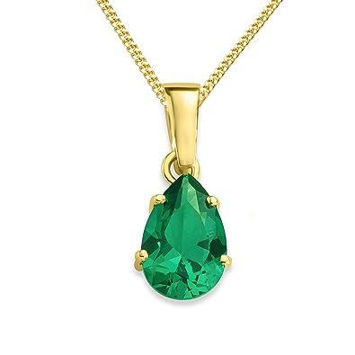 Miore Necklace - Pendant Women Chain Emerald Yellow Gold 9 Kt/375 Chain 45 cm BJzkkSuJBG