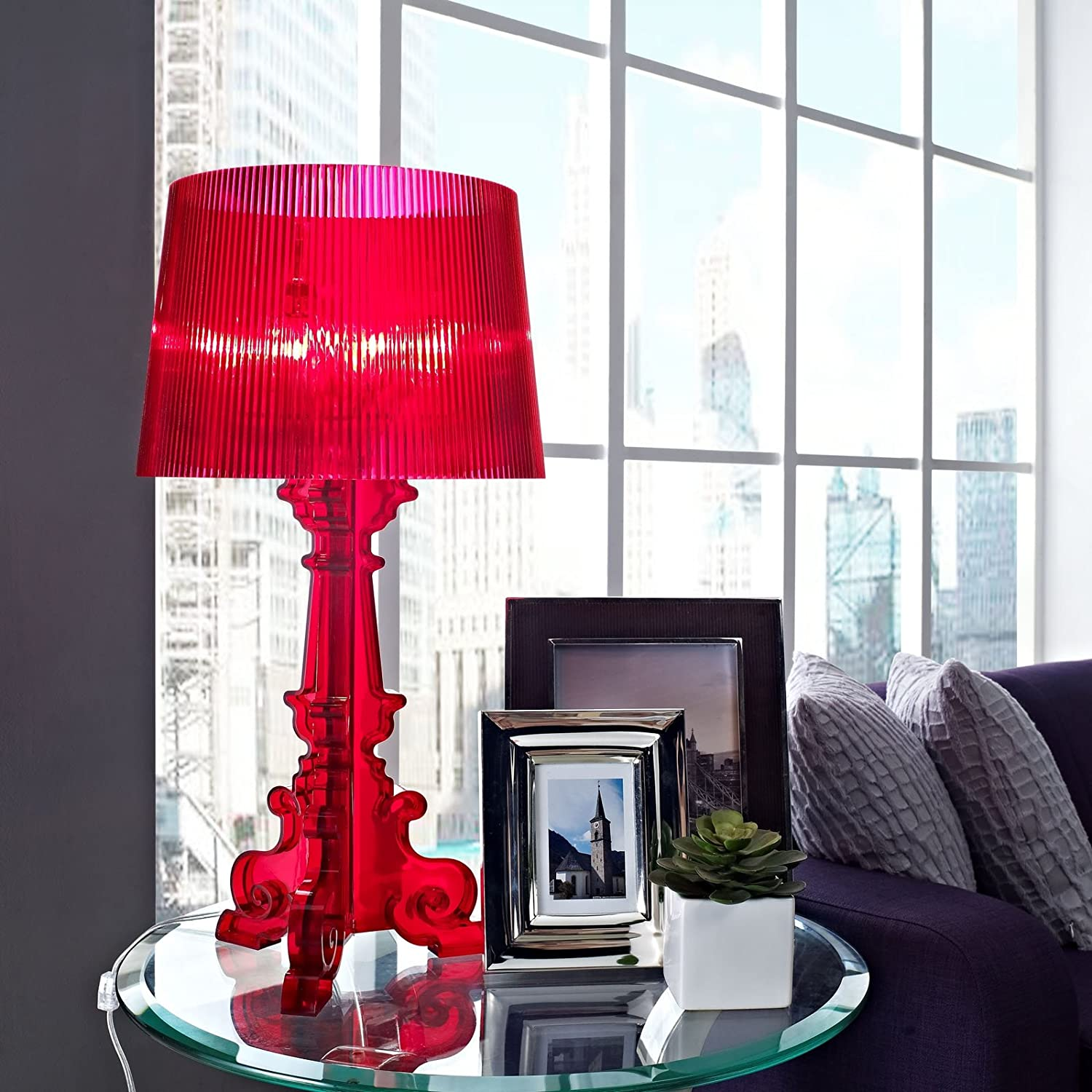 Buy Lexmod Bourgie Style Acrylic Table Lamp In Red Online At Low