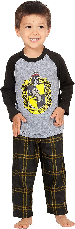 HARRY POTTER Los chicos Raglan camisa y pantalones Pijama Plaid Set- (Hufflepuff, 5T)