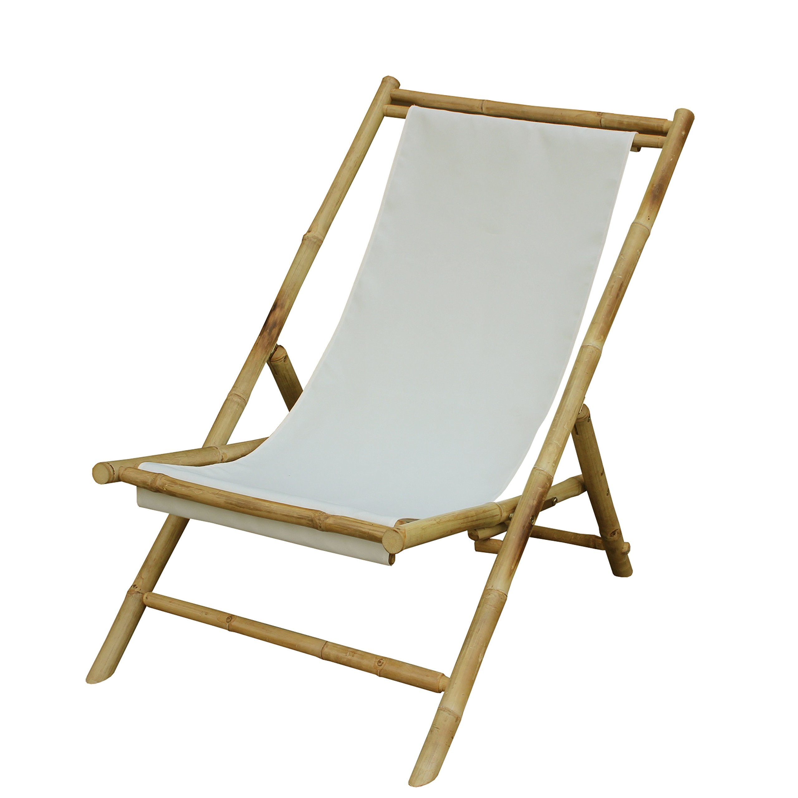 Zew Hand Crafted Foldable Bamboo Sling Patio Chair Celadon
