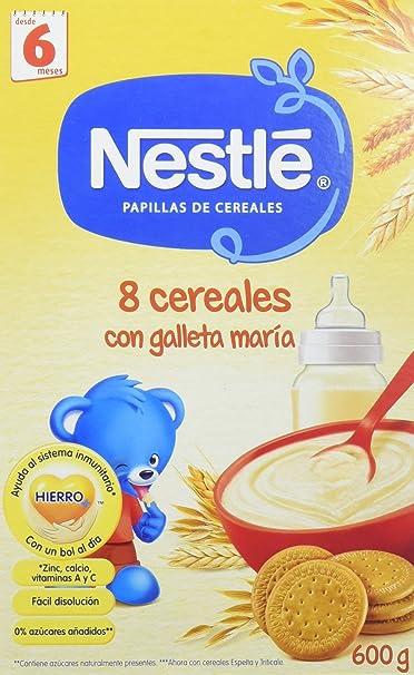 NESTLÉ Papilla 8 cereales con Galleta María - Paquete de 6 x 600 g - Total