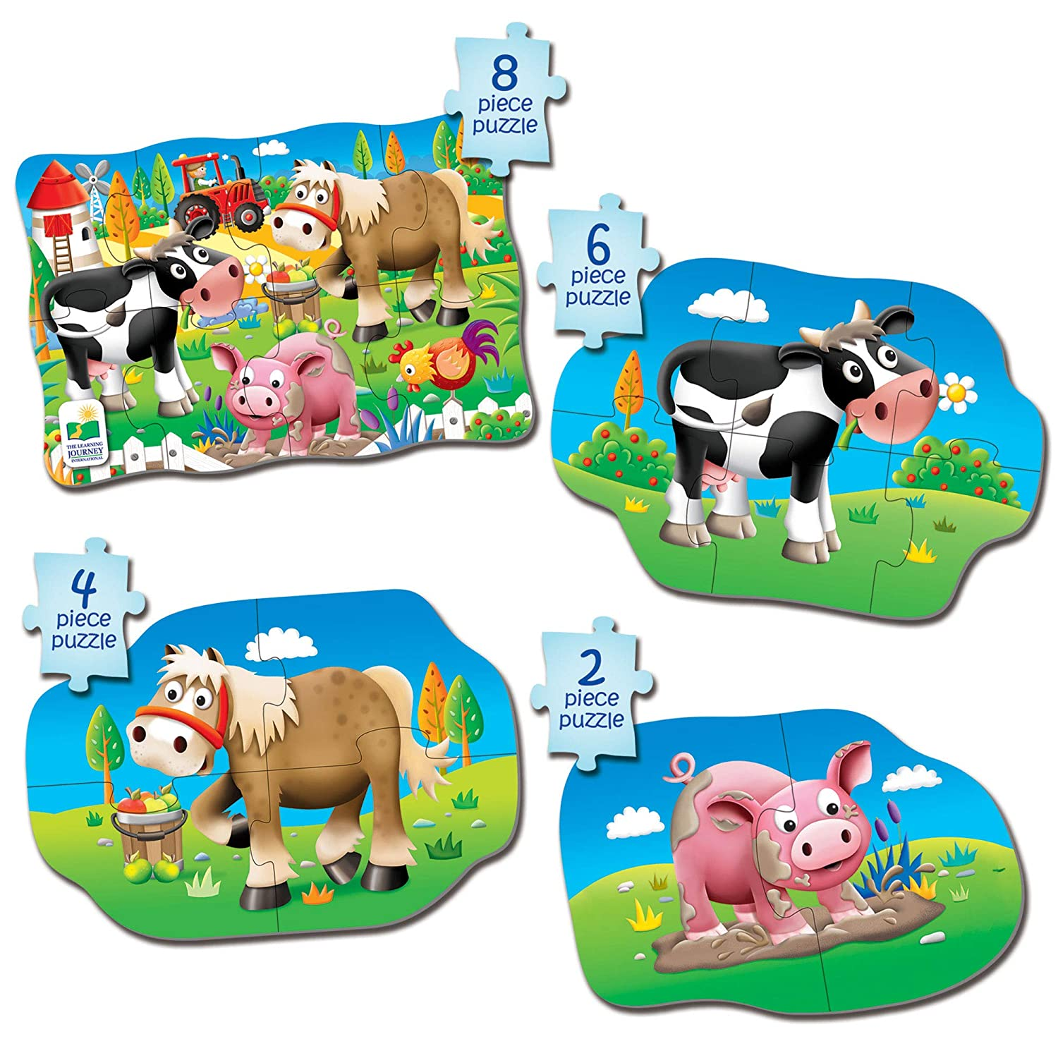 The Learning Journey My First 4-In-A-Box Puzzle - Farm - Educational Toddler Toys & Gifts for Boys & Girls Ages 2 & Up - Award Winning Puzzle