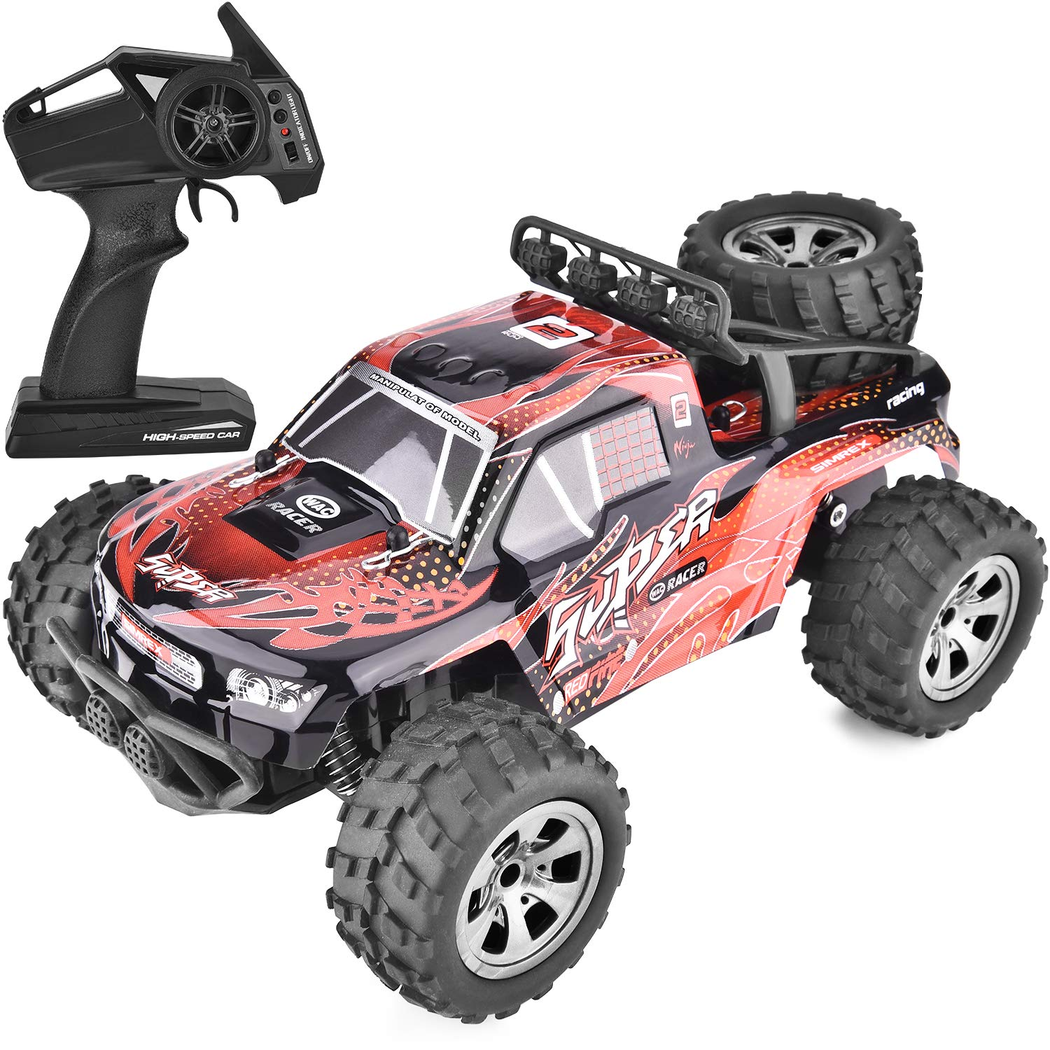 SIMREX A241 RC Cars High Speed 20KM/H Scale RTR Remote Control Brushed Monster Truck Off Road Car Big Foot RC 2WD Electric Power Buggy W/2.4G Challenger Red