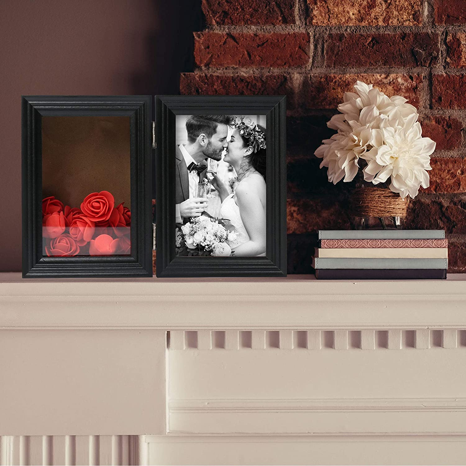 Double Hinged Picture Frame Bouquet Collection Glass Front Wedding Graduation 12 Artificial Flowers Included LotFancy Deep Shadow Box for 4x6/'/' Photos Black Wood Memory Shadow Box for Medals