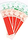 Dyslexia-Consultants Times table bookmarks x6 all tables KS1 KS2 time stables reminder