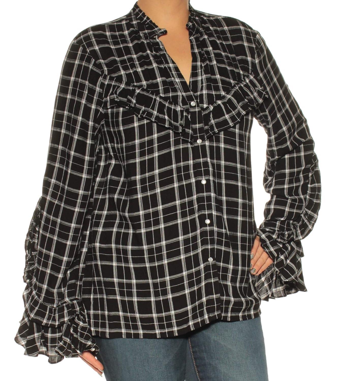 I-N-C Womens Ruffled Button Up Shirt