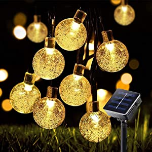 Solar String Lights 23ft 50 LED Outdoor Garden Lights Solar Powered 8 Modes Fairy Lights Auto On/Off In-Ground Stake Lights Decorative Globe Lights for Garden Patio Yard Home Wedding Party Metaku