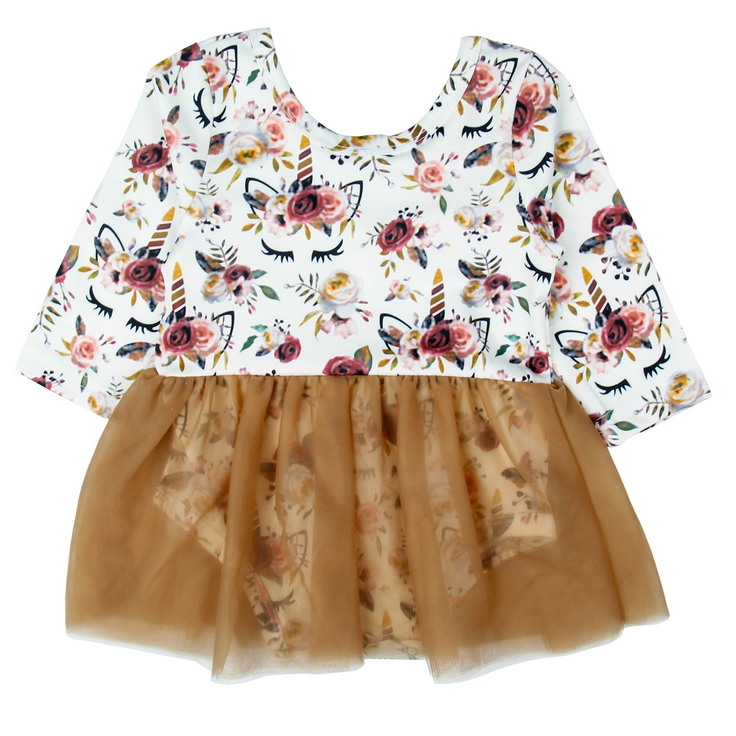 Infant Baby Girl Romper Long Sleeve Floral Unicorn Skirt Outfit Casual Clothes Set