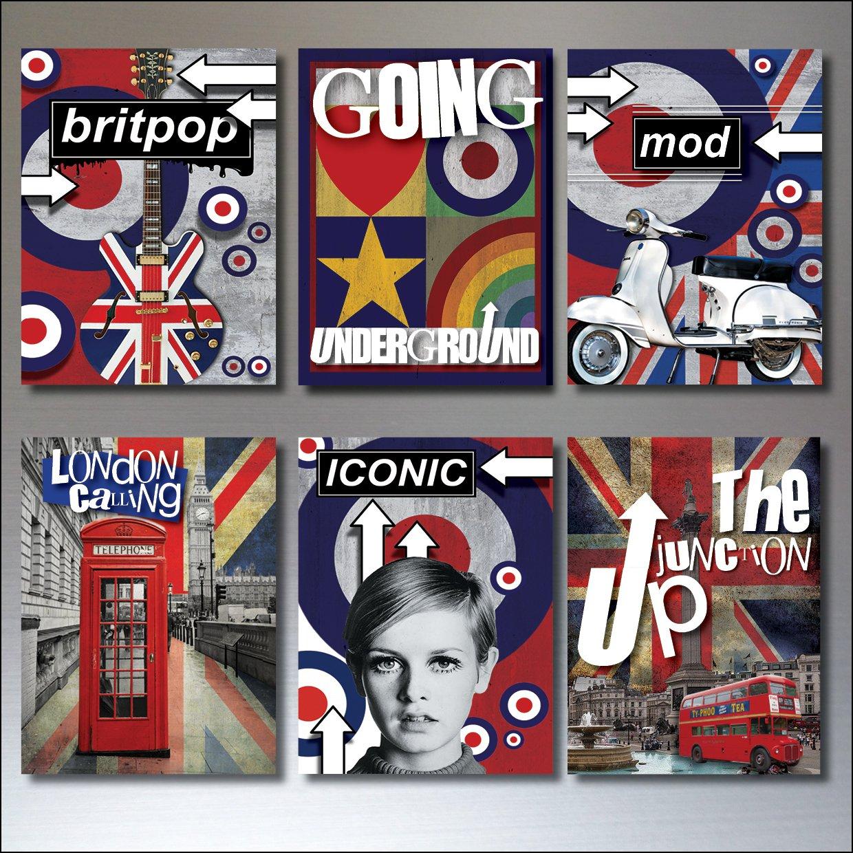 6 Pop culture fridge magnets Mod scooter retro punk rocker vintage music