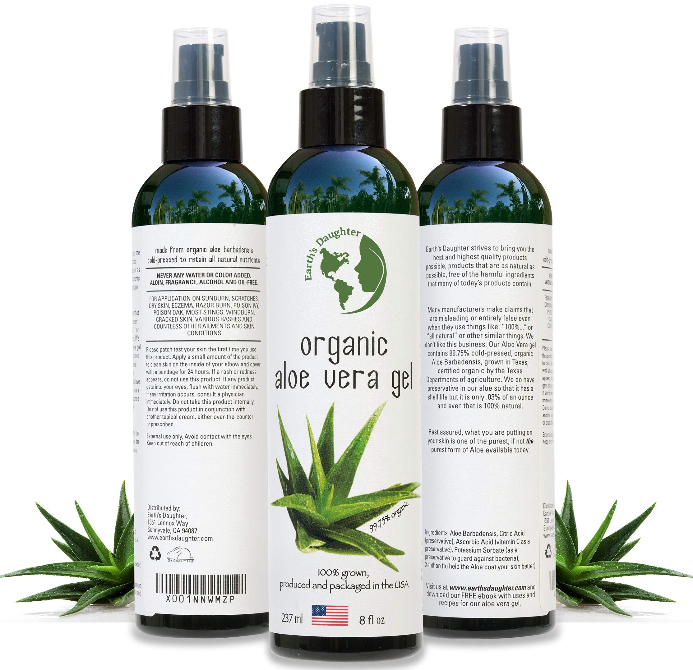 Organic Aloe Vera Gel from 100% Pure and Natural Cold Pressed Aloe - Great for Face - Hair - Acne - Sunburn - Bug Bites - Rashes - Eczema - 8 oz. by Earth's Daughter