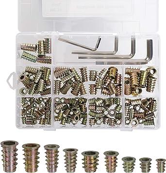 100 Pezzi Assortimento di Dadi con inserti Filettati,M6 x 15 mm Vite Dado Esagonale,Kit di Strumenti per la Classificazione dei Dadi per Mobili in Legno