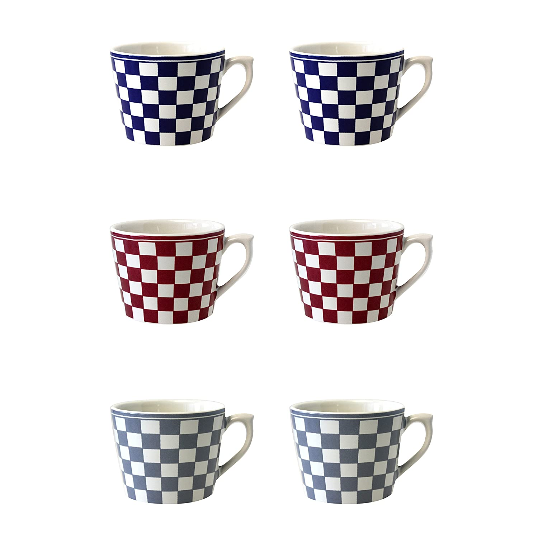 cer/ámica Azul//Rojo//Gris 11/x 9/x 7/cm Depot d argonne 6/Tazas de Cappuccino