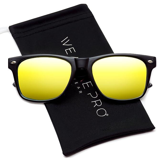 Gafas de sol de pasta grandes con lentes de color reflectantes Revo de espejo, planas