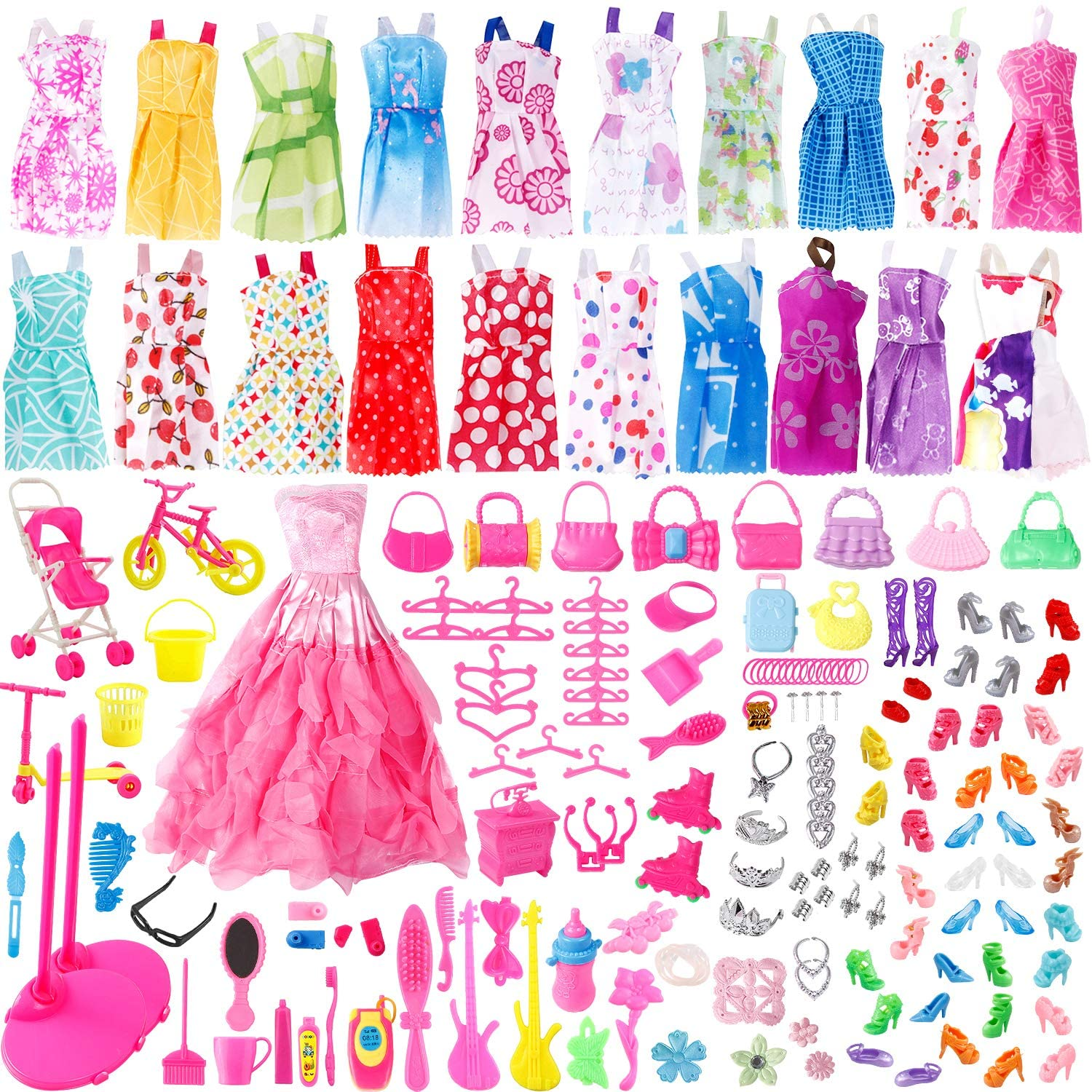 JANYUN Total 191pcs 20 Pack Clothes Party Gown Outfits and Wedding Dress for Dolls + 170 pcs Dolls Accessories Shoes Bags Necklace Mirror Hanger Tableware