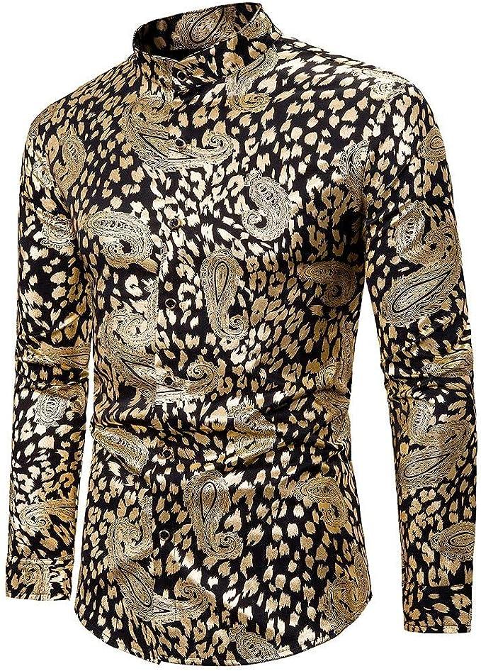 MOIKA - Camiseta Africana para Hombre, otoño e Invierno, Estampado, suéter de Manga Larga, Estilo Gentleman Dorado M: Amazon.es: Ropa y accesorios