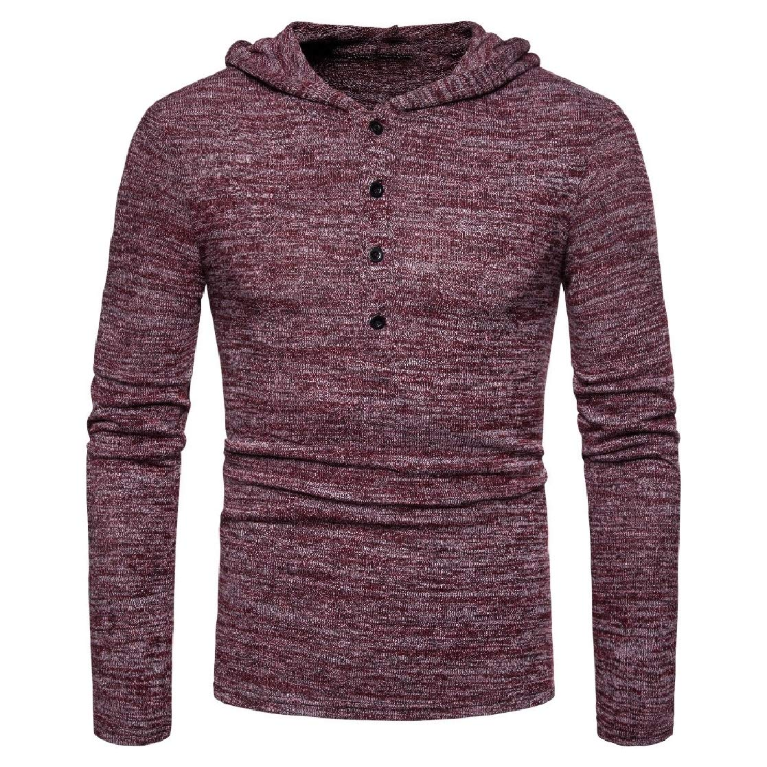YUNY Mens Hooded Pure Long-Sleeve T-Shirts Pullover Casual Sweatshirts AS2 XL