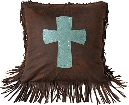 HiEnd Accents Cheyenne Tooled Faux Leather Studded Cross Throw Pillow, 1 6 x 1 6 , Turquoise