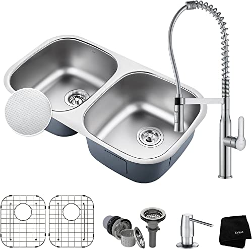 Kraus KBU22E-1650-42CH 32 Inch Chrome Combo with Outlast MicroShield Undermount Stainless Steel 50 50 Double Bowl Real 16 Gauge Sink and Nola Commercial Kitchen Faucet with Soap Dispenser