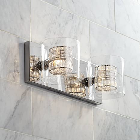 Brushed Nickel And Glass Tile 4 Light Bath Wall With Led Nightlight