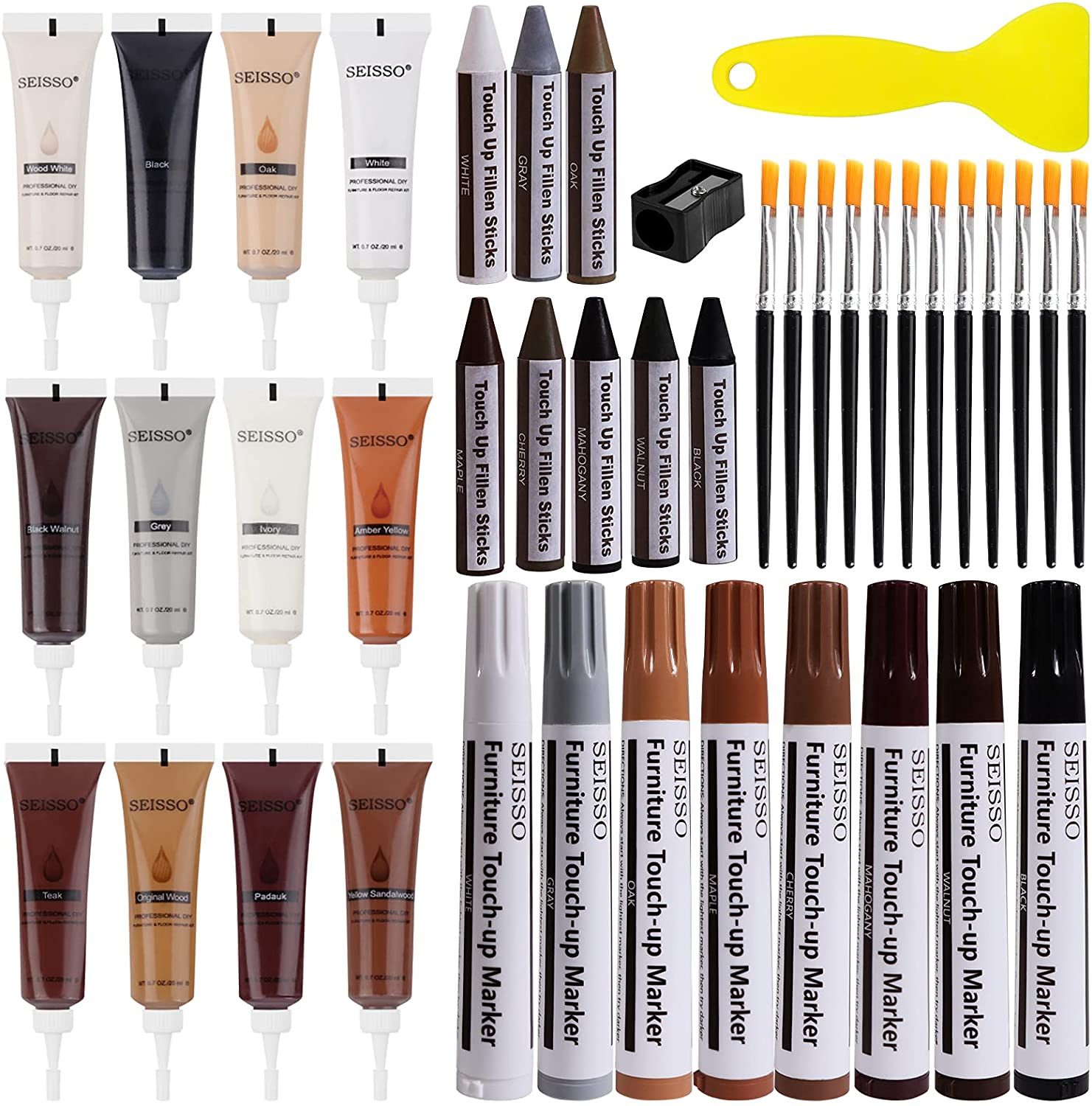 Wood Repair Kit for Furniture, 12 Colors Wood Filler with 8 Colors Wood Repair Markers and Wax Sticks Sharpener Kit Scratch Cover Surface Restore-Set of 42