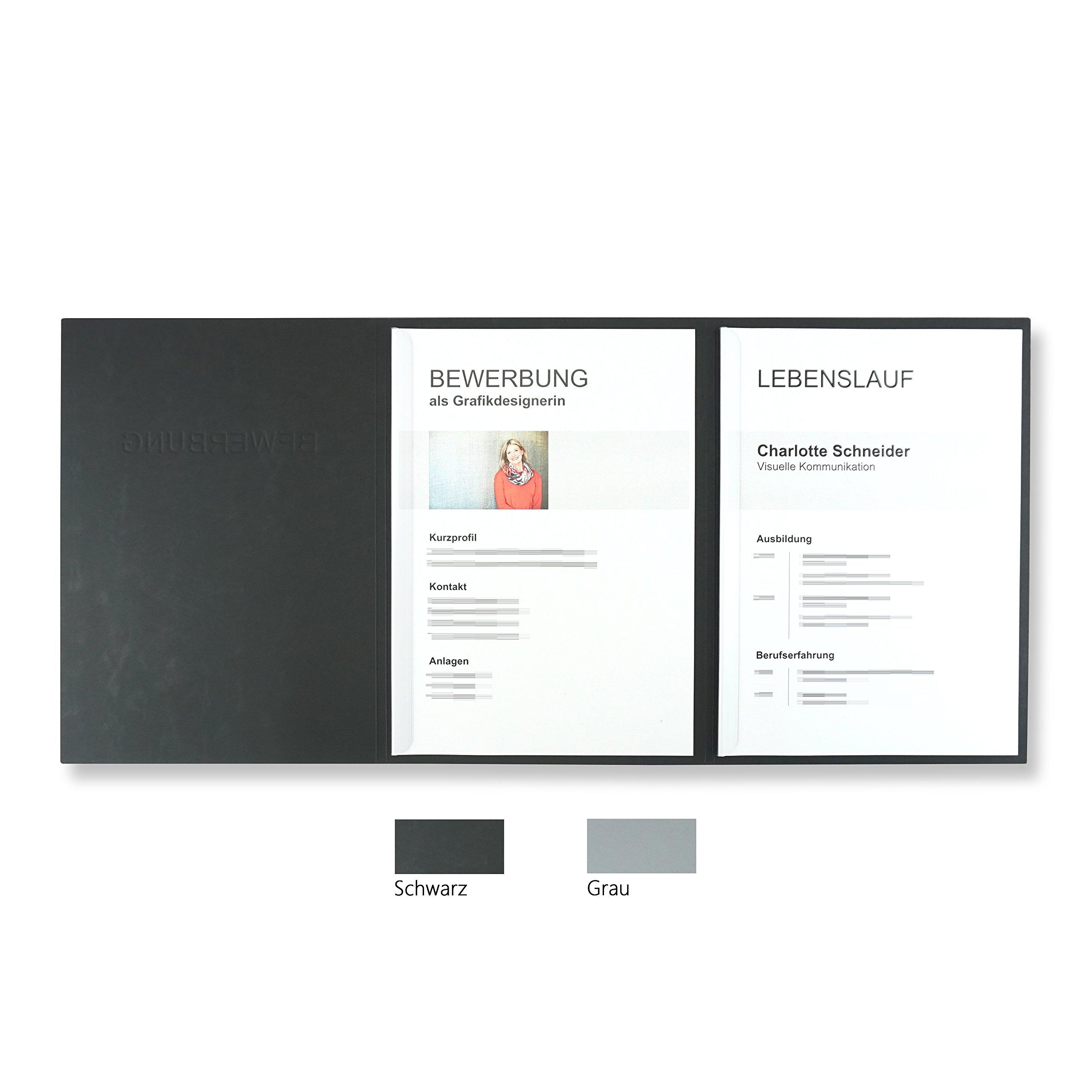10 Stück 3-teilige Bewerbungsmappen schwarz mit 2 Klemmschienen in feinster  Lederstruktur // hochwertige