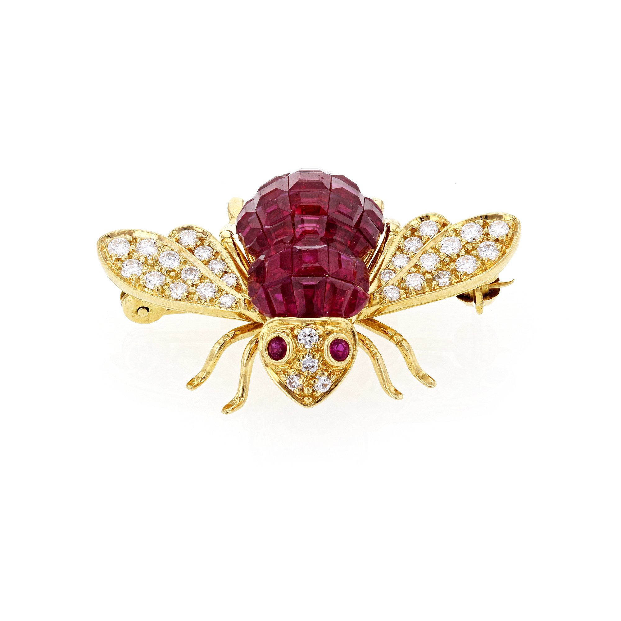 Sabbadini Gioielli Red Ruby and Diamond Bee Brooch 5 Carats TGW 18k Yellow Gold - Italian Fine Jewelry by Kobelli (Image #1)
