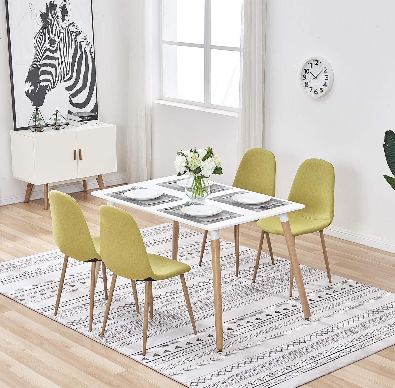 Gizza rectangular white wood dining table and 4 chairs linen fabric sturdy metal legs for dining kitchen lounge restaurant office furniture setmustard