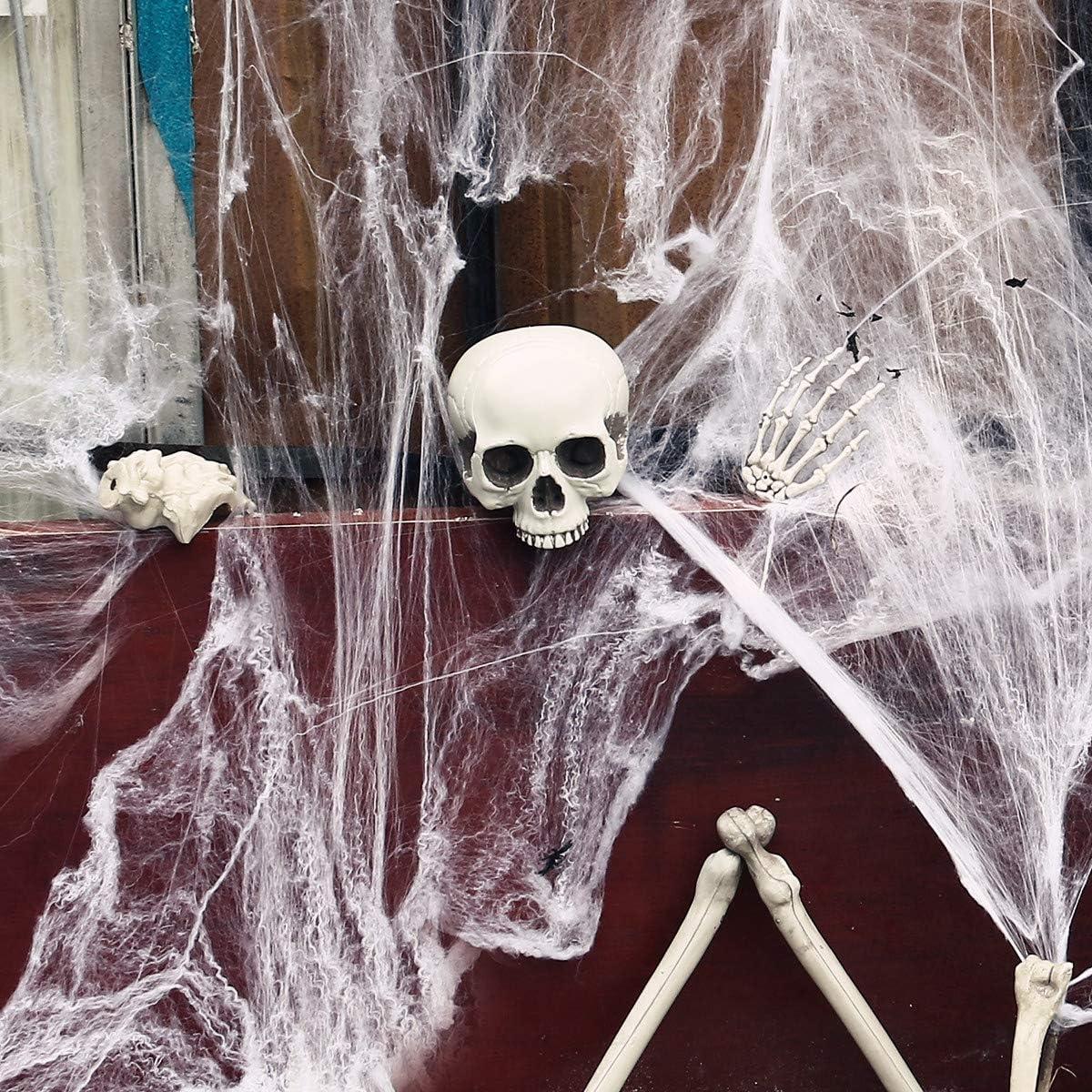 Halloween Spider Webs 1000 sqft Halloween Stretch Cobwebs Night Light Web Spider Webbing Indoor Outdoor Decoration