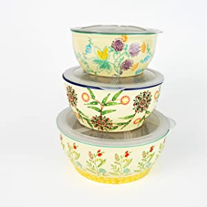 Euro Ceramica Ella 3 Piece Nesting Storage Bowls Set with Lids Assorted Multicolor Asian Floral Design