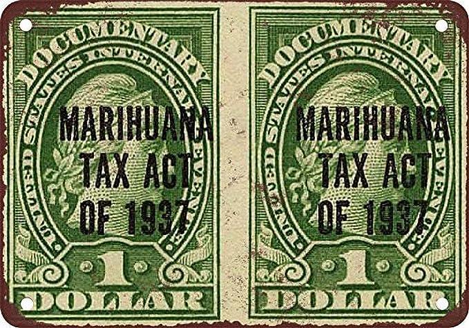 aoeiu Marijuana Tax Act Stamps Cartel de Metal Decoración de ...