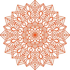 "Vinyl Wall Art Decal - Mandala Figure - 23"" x 23"" - Adhesive Vinyl Sticker Decals - Home Apartment Workplace Decor - Yoga Studio Namaste Meditation Mandala Bohemian Flower (23"" x 23"", Orange)"