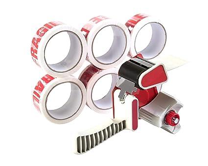 Juego de 6 rollos de cinta adhesiva de alta calidad con dispensador, 66 m x 48
