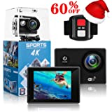 4K Action Camera,Wewdigi HE9000 4K Sports Action Camera Ultra HD 30m Waterproof WiFi 16MP DV Camcorder 170 Degree Wide 2 inch LCD Screen/ Remote Control// 17 Mounting Kits (Black)