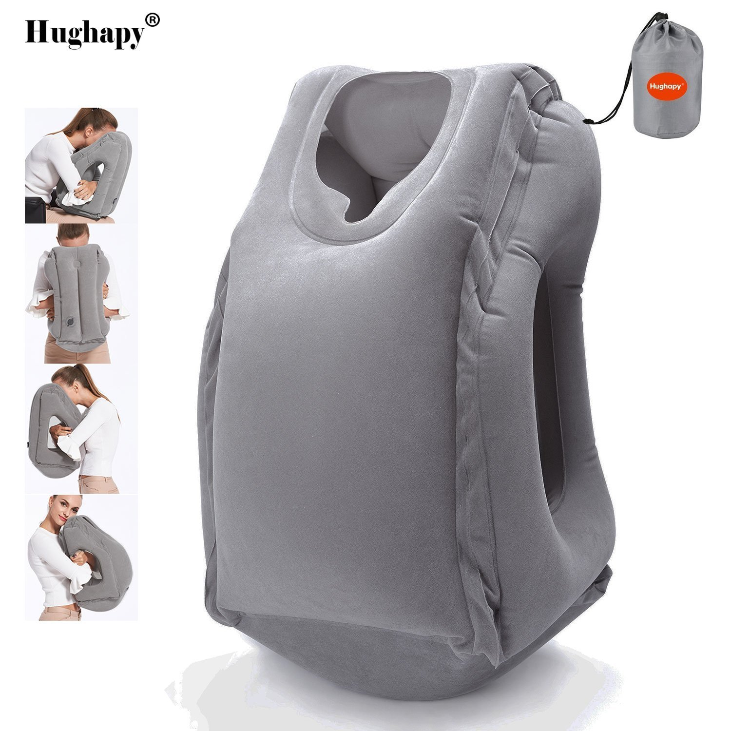 Hughapy Travel Pillow Inflatable Pillows Air Soft Cushion Trip Portable Multifunctional Pillow Nap Time Lie Prone on the Pillow (11.8