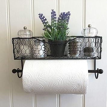 Amazon De Kuchenrollenhalter Shabby Chic Vintage Stil Wandkorb