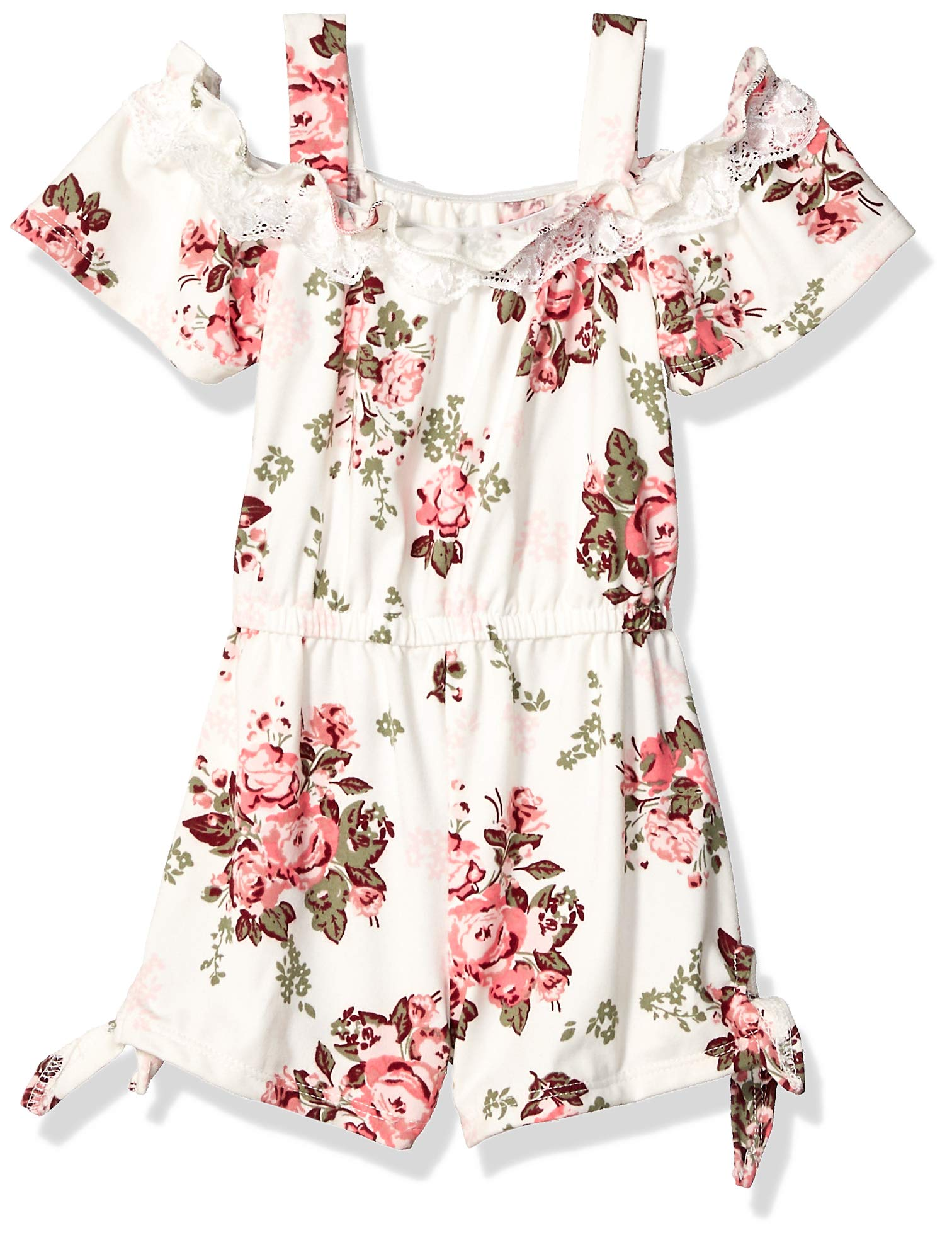 One Step Up Girls' Little Soft Knit Romper, Vanilla Floral, 6X by One Step Up