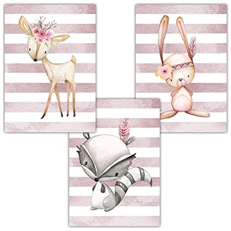 Frechdax® 3er Set Poster Kinderzimmer - A4 Bilder Babyzimmer - Deko Mädchen  (3er Set Altrosa, Hase, REH, Waschbär)
