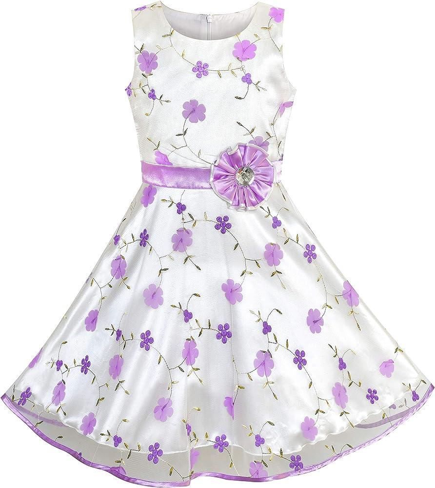 Sunny Fashion Vestido para niña Rosa Floral Tul Fiesta de cumpleaños Boda 4-12 años